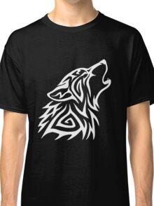 Tribal Wolf Howl - White Classic T-Shirt