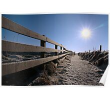 snow covered path on cliff edge walk Poster