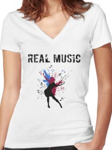REAL MUSIC Women's Fitted V-Neck T-Shirt