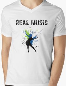 REAL MUSIC Mens V-Neck T-Shirt