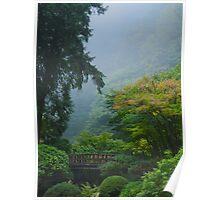 Garden Bridge in Mist Poster