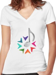 MUSIC TIME Women's Fitted V-Neck T-Shirt