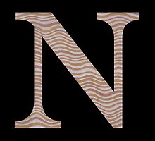 Letter N Metallic Look Stripes Silver Gold Copper by theartofvikki