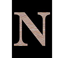 Letter N Metallic Look Stripes Silver Gold Copper Photographic Print