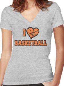 I Love Basketball Women's Fitted V-Neck T-Shirt