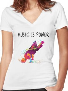 MUSIC IS POWER Women's Fitted V-Neck T-Shirt