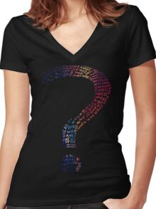 Question mark graphic T-Shirt Women's Fitted V-Neck T-Shirt