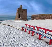 winter view of ballybunion castle and red benches by morrbyte