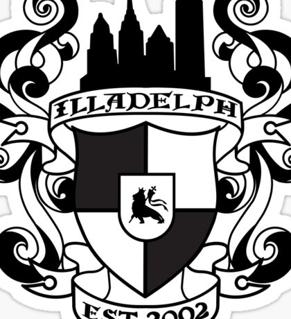 Illadelph Crest Sticker (Black) Sticker