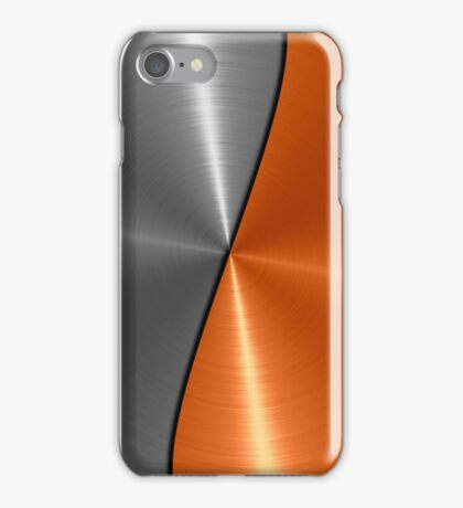 Silver and Orange Stainless Shiny Steel Metal Look  iPhone Case/Skin