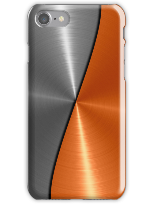 Silver and Orange Stainless Shiny Steel Metal Look  by Nhan Ngo
