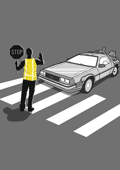 Back To The Future delorean Zebra Crossing by Creative Spectator