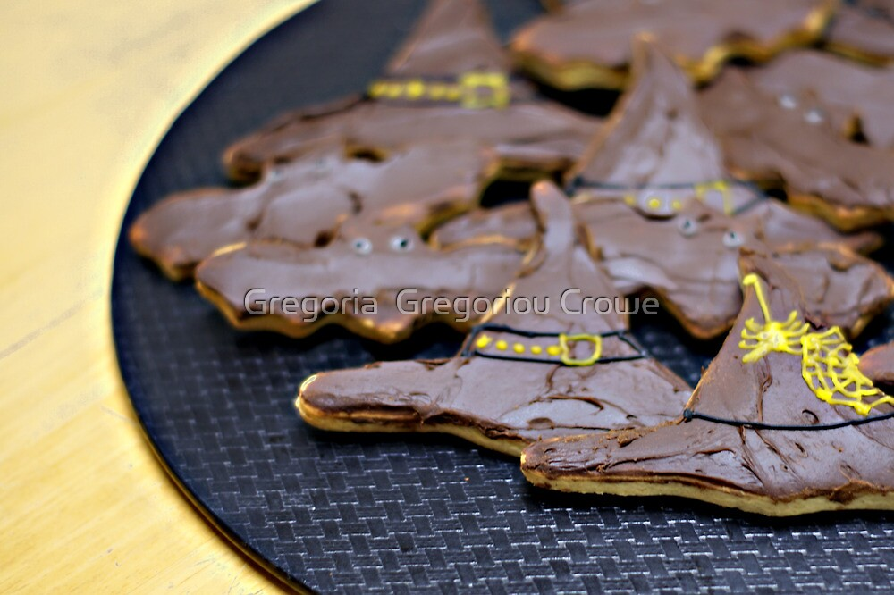 witch's hats and bats cookies ready to eat... by Gregoria  Gregoriou Crowe