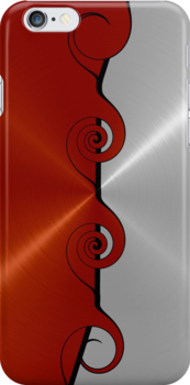 Red and Silver Stainless Shiny Steel Metal Swirl Pattern by Nhan Ngo