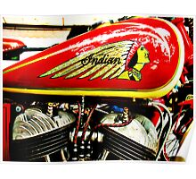 Vintage Indian motorcycle gas tank and engine Poster