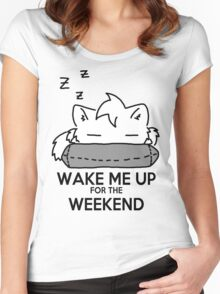 Wake Me Up For The Weekend! (gray) Women's Fitted Scoop T-Shirt