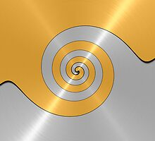 Gold and Silver Shiny Stainless Steel Metal Swirl Pattern by Nhan Ngo