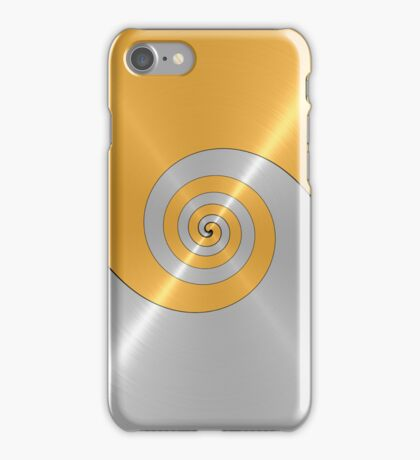 Gold and Silver Shiny Stainless Steel Metal Swirl Pattern iPhone Case/Skin