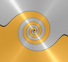 Silver and Gold Shiny Stainless Steel Metal Swirl  by Nhan Ngo