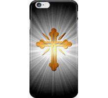 Gold Cross On Sun Rays iPhone Case/Skin