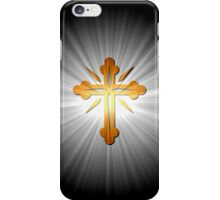 Gold Cross On Sun Rays iPhone Case/Skin