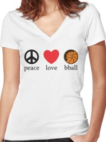 Peace Love Basketball Women's Fitted V-Neck T-Shirt