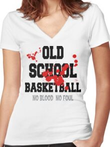 Old School Basketball Women's Fitted V-Neck T-Shirt