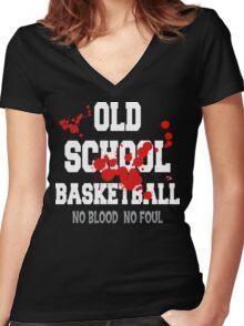 Old School Basketball Dark Women's Fitted V-Neck T-Shirt