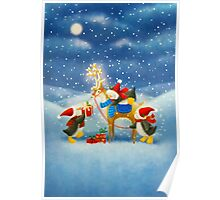 Penguin and Reindeer Poster