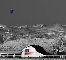 Hot Air Balloon With USA Flag Barn God Bless the USA BWSC by Bo Insogna