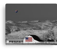 Hot Air Balloon With USA Flag Barn God Bless the USA BWSC Canvas Print