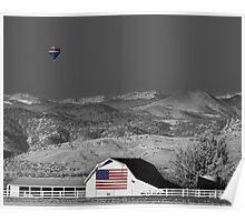 Hot Air Balloon With USA Flag Barn God Bless the USA BWSC Poster
