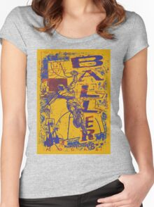 Slam Dunk Baller Yellow and Purple Women's Fitted Scoop T-Shirt