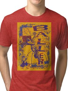 Slam Dunk Baller Yellow and Purple Tri-blend T-Shirt