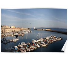 Harbor in Chania Poster