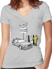 Back to the Future Delorean 'Hill Valley Gas Station' Women's Fitted V-Neck T-Shirt