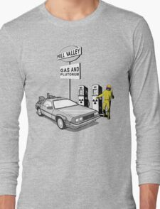 Back to the Future Delorean 'Hill Valley Gas Station' Long Sleeve T-Shirt