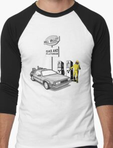 Back to the Future Delorean 'Hill Valley Gas Station' Men's Baseball ¾ T-Shirt