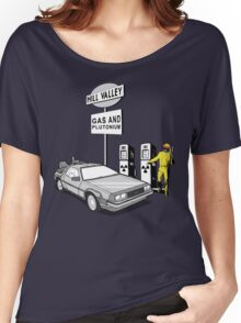 Back to the Future Delorean 'Hill Valley Gas Station' Women's Relaxed Fit T-Shirt