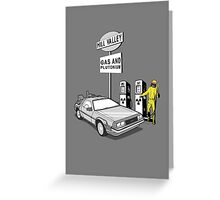 Back to the Future Delorean 'Hill Valley Gas Station' Greeting Card