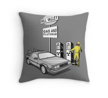 Back to the Future Delorean 'Hill Valley Gas Station' Throw Pillow
