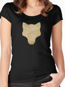 Coffee Stained Wolf Silhouette Women's Fitted Scoop T-Shirt