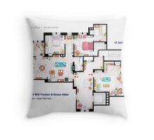 Apartments of Will Truman, Grace Adler and Jack MacFarland Throw Pillow
