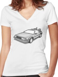 Back to the Future Delorean  Women's Fitted V-Neck T-Shirt