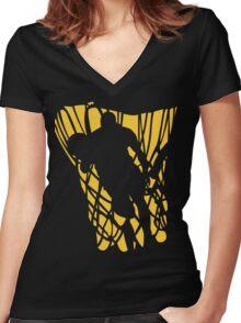 Basketball Player Dark Women's Fitted V-Neck T-Shirt