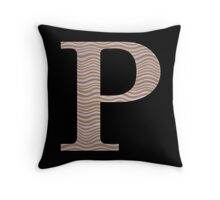 Letter P Metallic Look Stripes Silver Gold Copper Throw Pillow