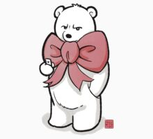 Polar Bear In Pink Ribbon Kids Tee