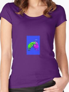 Neon Happy Goats Women's Fitted Scoop T-Shirt
