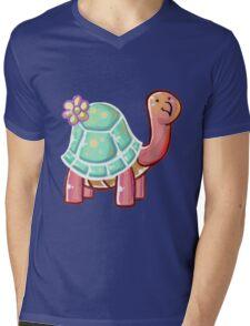 Flower Tortoise Mens V-Neck T-Shirt
