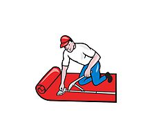Carpet Layer Fitter Worker Cartoon Photographic Print